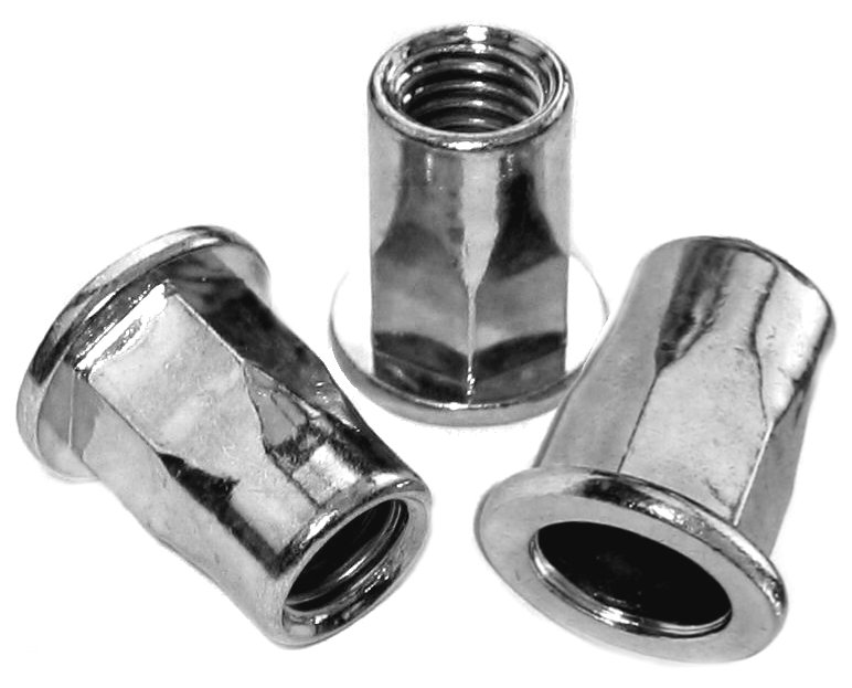 Steel, hexagon, large flange head ProGrip Rivet Nuts - 0124 Series